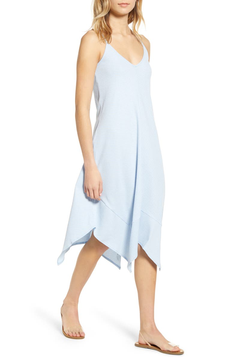 LIRA CLOTHING Jade Handkerchief Hem Midi Dress, Main, color, BLUE