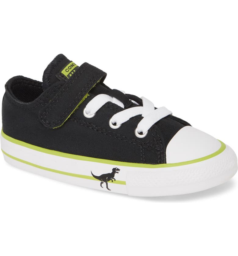 CONVERSE Chuck Taylor<sup>®</sup> All Star<sup>®</sup> Dinoverse Low Top Sneaker, Main, color, BLACK/ BOLD LIME/ WHITE