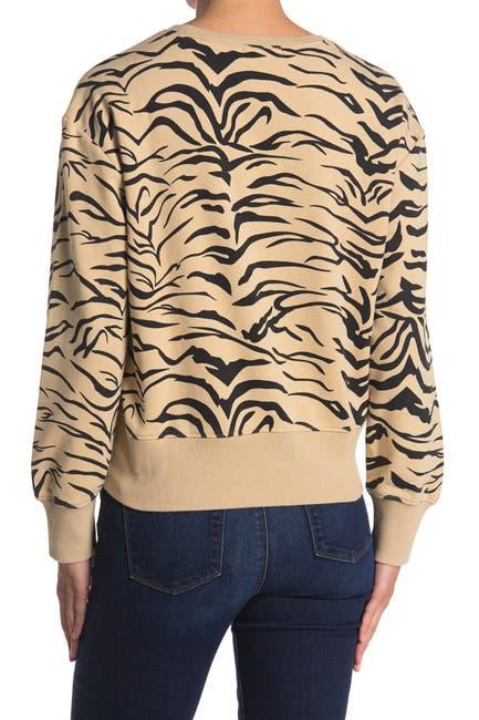 Image of Velvet Heart Selene Long Sleeve Crew Neck Zebra Sweater