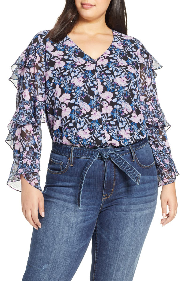 VINCE CAMUTO Charming Floral Tiered Sleeve Top, Main, color, 407