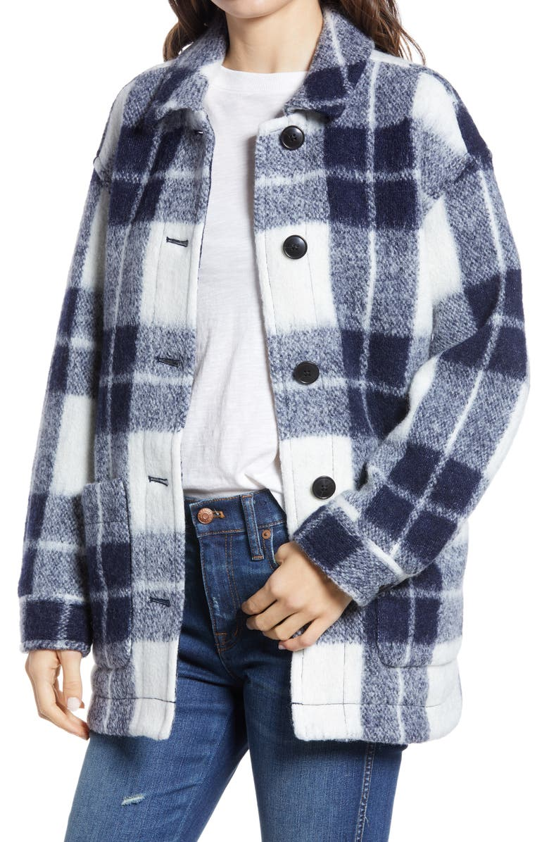 MADEWELL Women's Walton Colleton Plaid Shirt Jacket, Main, color, MARYL PLAID INK