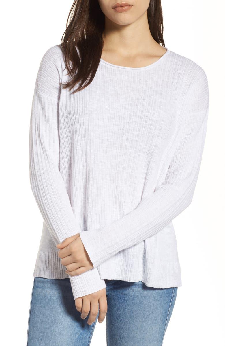 EILEEN FISHER Organic Linen & Cotton Crewneck Sweater, Main, color, 100