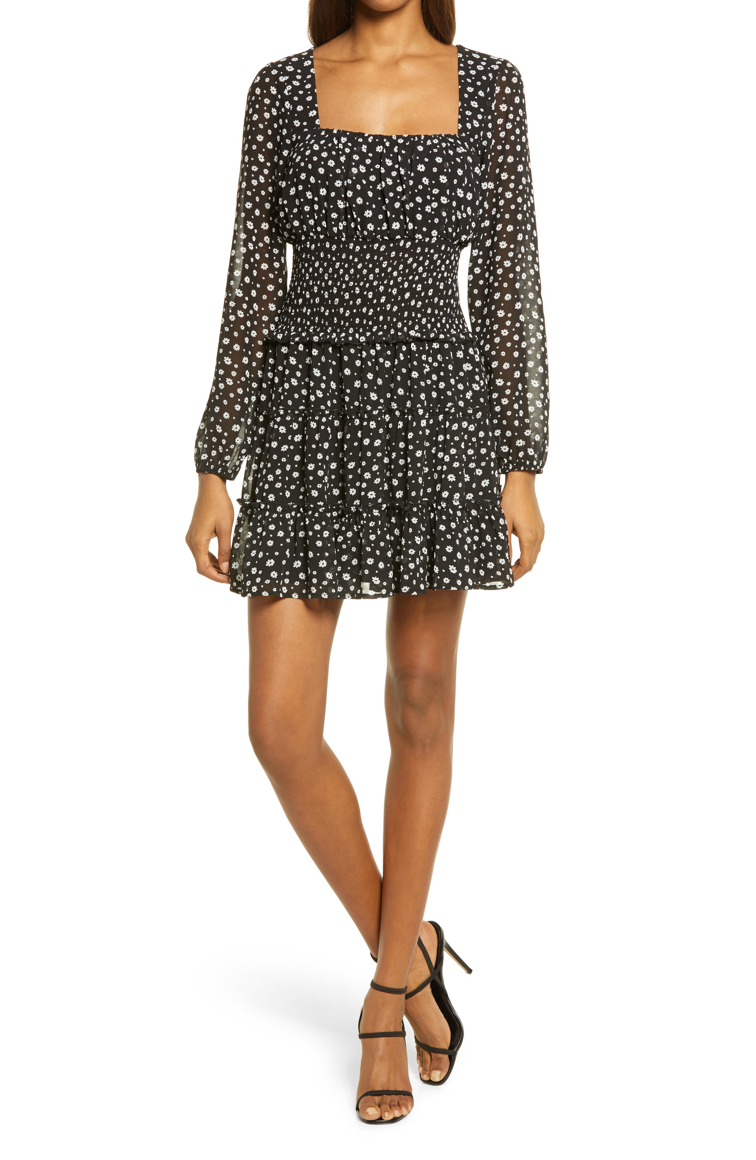 Image of ROW A Smocked Waist Polka Dot Mini Dress