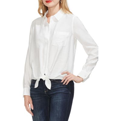 Vince Camuto Tie Front Rumple Satin Shirt, Ivory