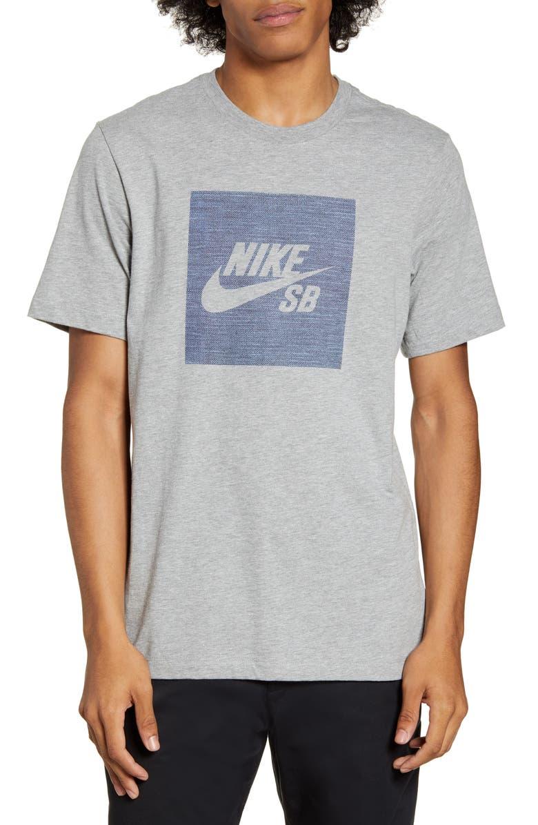 NIKE SB Chambray Logo T-Shirt, Main, color, DARK GREY HEATHER