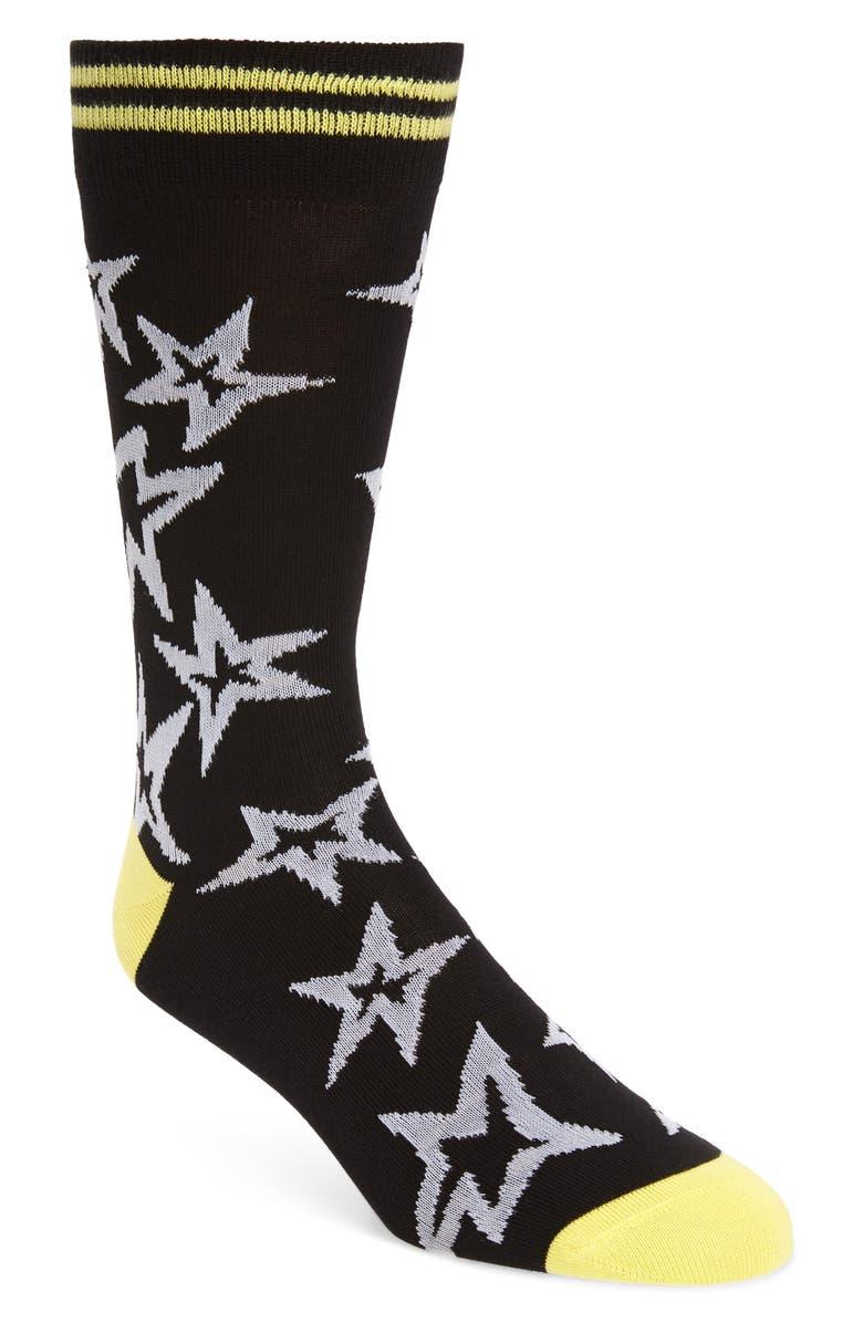 PAUL SMITH Neon Star Socks, Main, color, BLACK