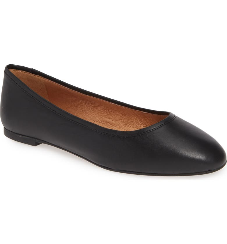 MADEWELL Reid Ballet Flat, Main, color, TRUE BLACK LEATHER