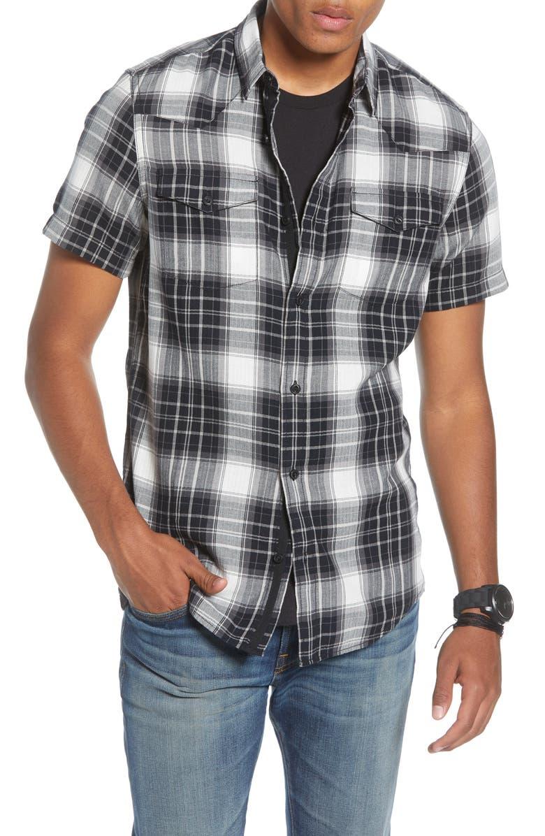 TREASURE & BOND Trim Fit Plaid Short Sleeve Button-Up Shirt, Main, color, BLACK ROCK WILSHER PLAID