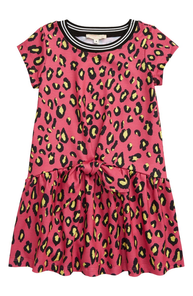TRULY ME Leopard Print Dress, Main, color, FUCHSIA MULTI