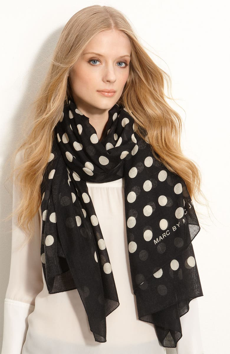 MARC BY MARC JACOBS 'Hot Dot' Cashmere & Silk Scarf, Main, color, 002