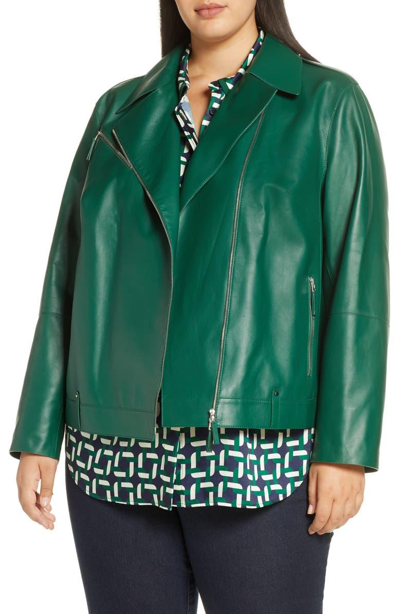 LAFAYETTE 148 NEW YORK Bernice Leather Moto Jacket, Main, color, ELM GREEN