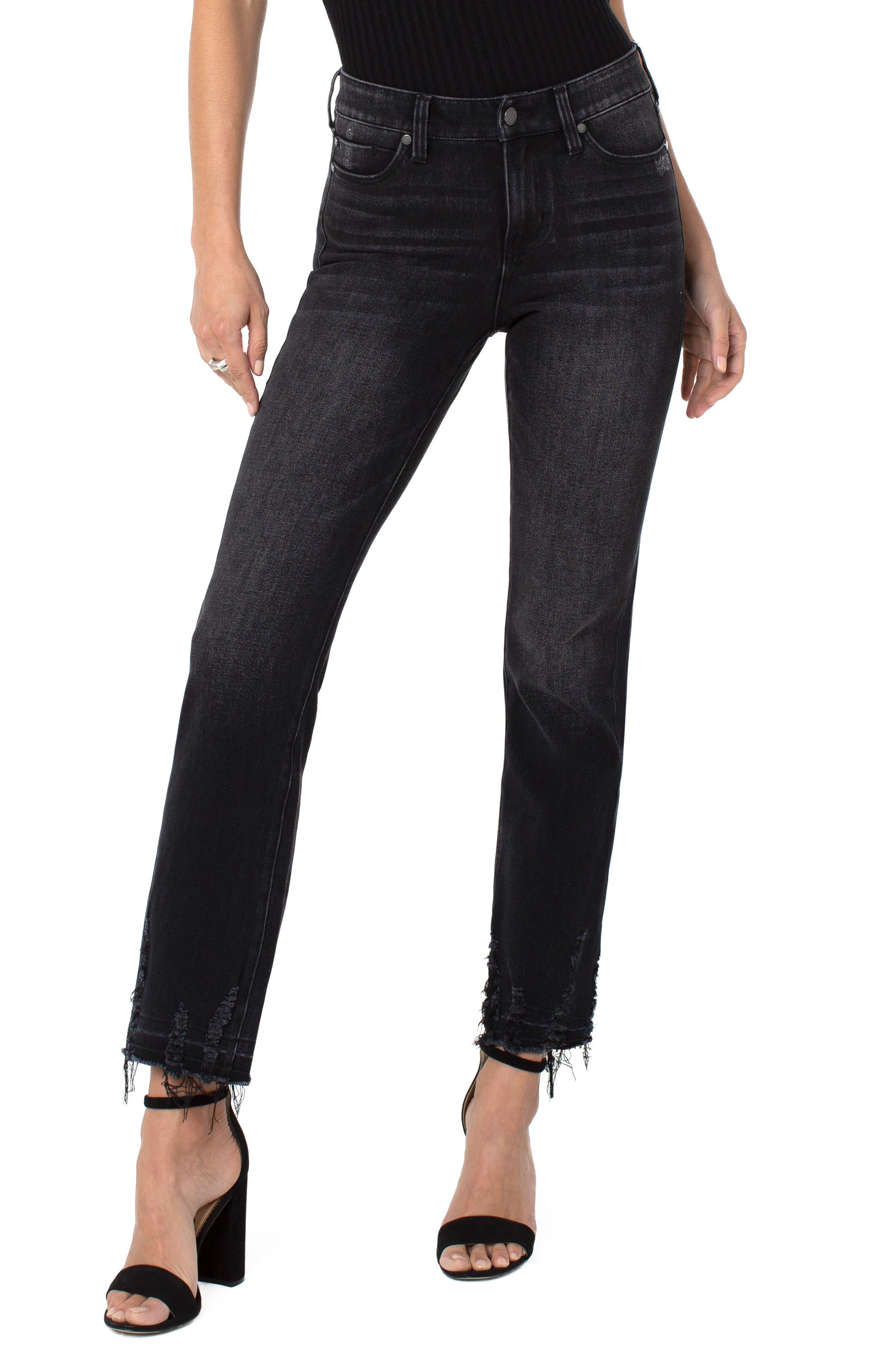 Sadie Frayed Hem Slim Straight Leg Jeans