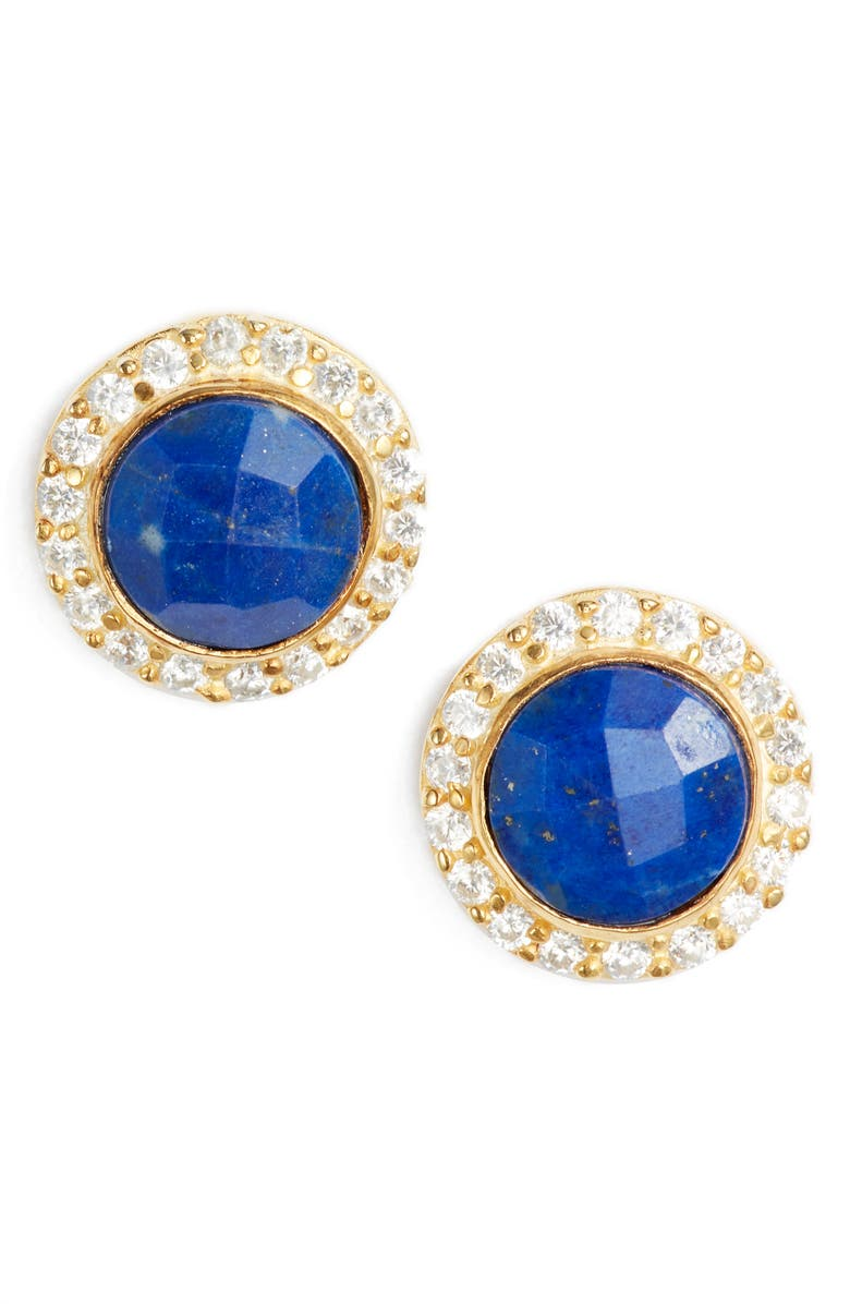 COLLECTIONS BY JOYA Celebration Stone Stud Earrings, Main, color, LAPIS