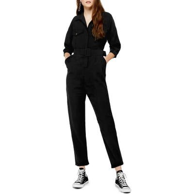 Topshop Belted Button-Up Long Sleeve Jumpsuit, US (fits like 14) - Black