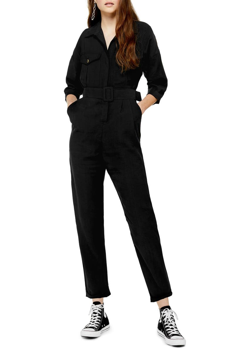TOPSHOP Belted Button-Up Long Sleeve Jumpsuit, Main, color, BLACK