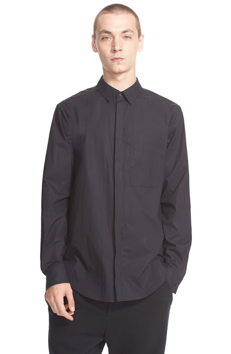 ALEXANDER WANG Trim Fit Cotton Poplin Shirt, Main, color, 001