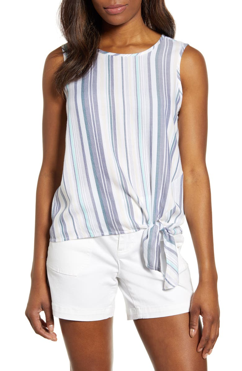 BEACHLUNCHLOUNGE Stripe Side Tie Sleeveless Blouse, Main, color, SALT WATER