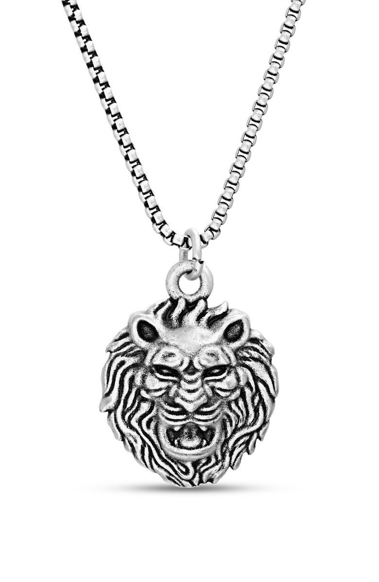 STEVE MADDEN Lion Head Pendant Necklace, Main, color, METALLIC SILVER