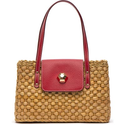 Frances Valentine Woven Shoulder Bag - Red