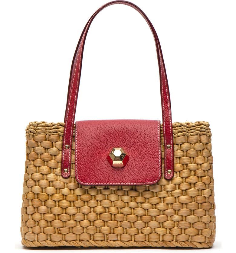FRANCES VALENTINE Woven Shoulder Bag, Main, color, RED