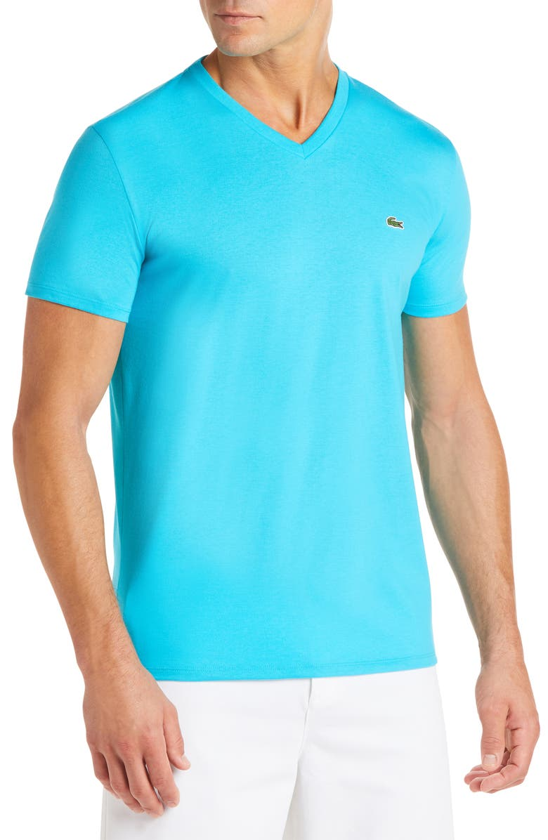 LACOSTE Regular Fit V-Neck T-Shirt, Main, color, CAPRI
