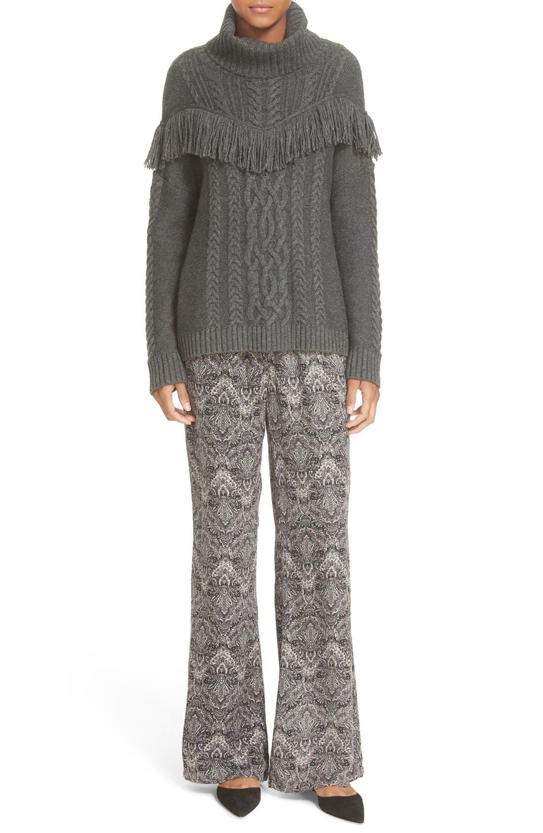 ,                             'Viviam' Fringe Cable Turtleneck Sweater,                             Alternate thumbnail 6, color,                             076