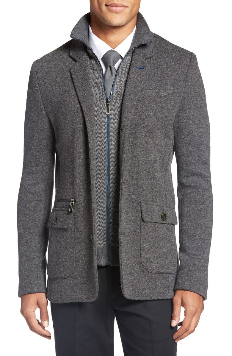 TED BAKER LONDON 'Dom' Extra Trim Fit Jersey Blazer with Removable Bib, Main, color, 010