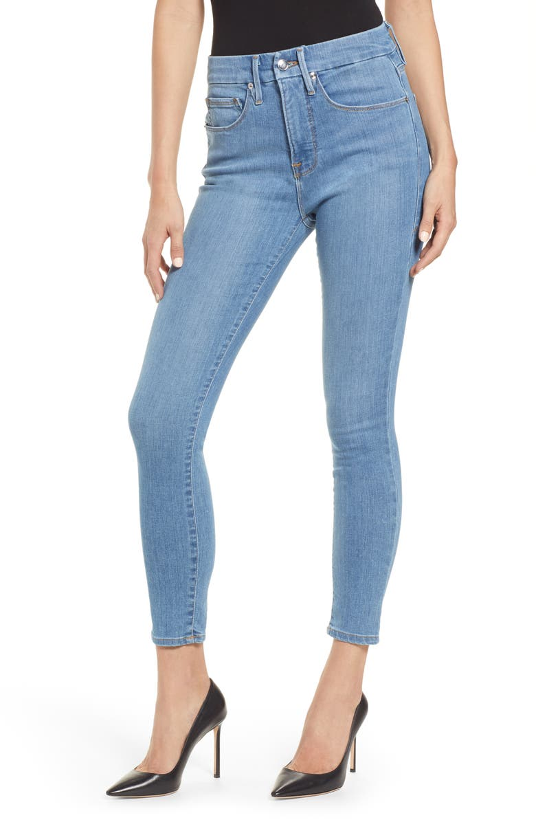 GOOD AMERICAN Good Legs High Waist Ankle Skinny Jeans, Main, color, BLUE268