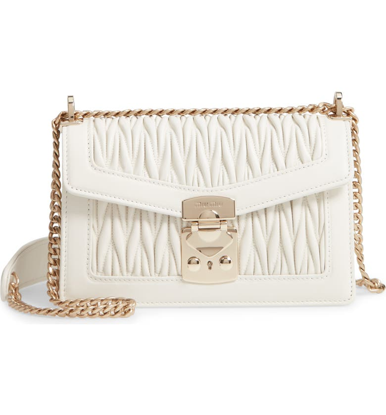 MIU MIU Matelassé Leather Crossbody Bag, Main, color, BIANCO