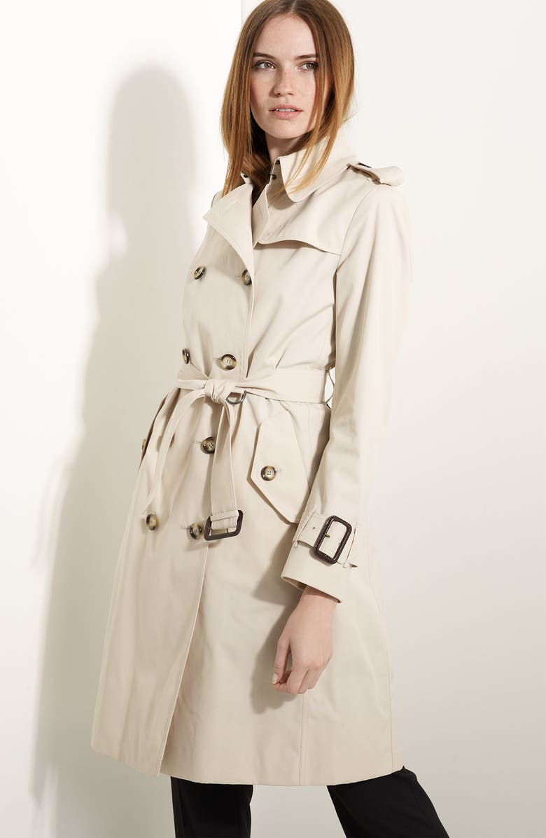 BURBERRY LONDON Poplin Belted Trench, Main, color, 250