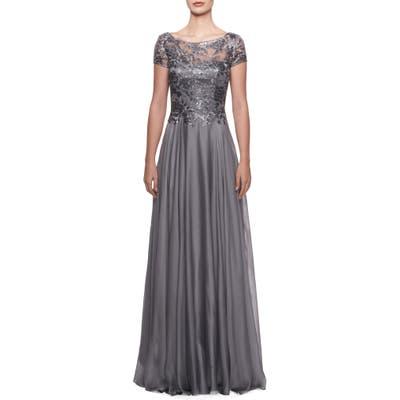 La Femme Floral Lace & Satin Gown, Metallic