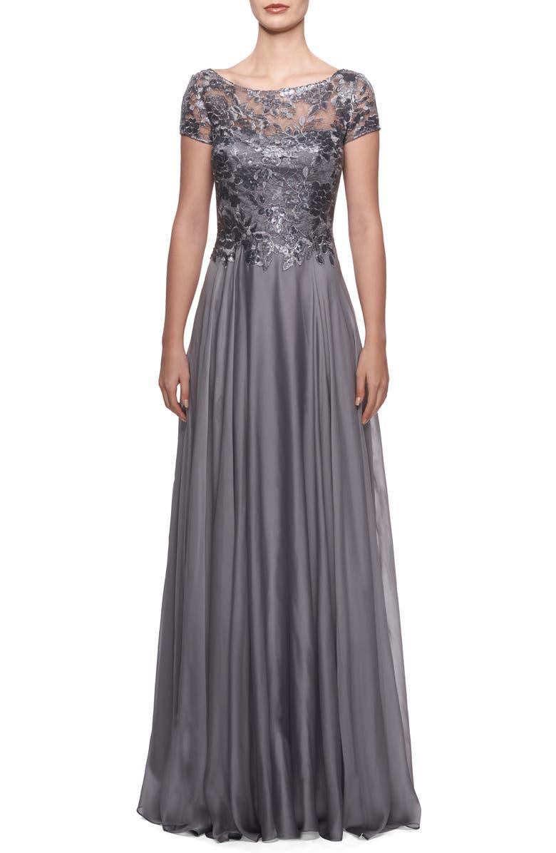 LA FEMME Floral Lace & Satin Gown, Main, color, PLATINUM