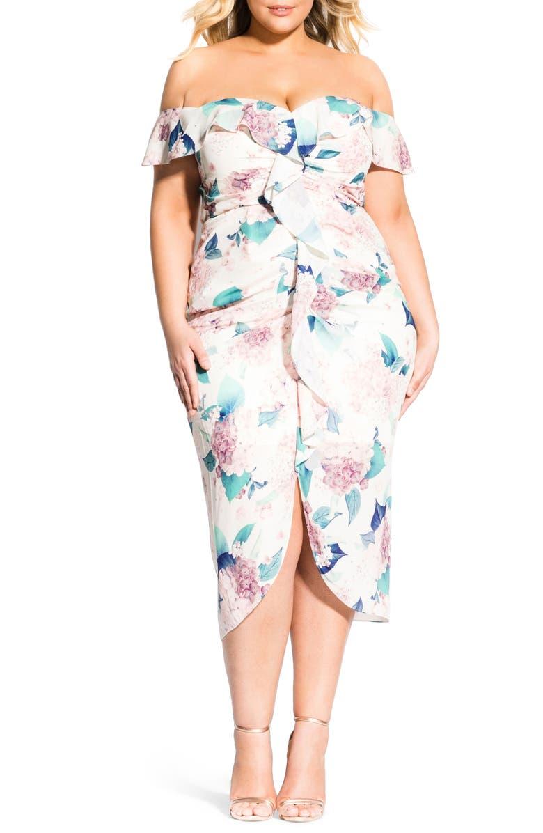 CITY CHIC Hydrangea Off the Shoulder Midi Dress, Main, color, SOFT HYDRANGEA