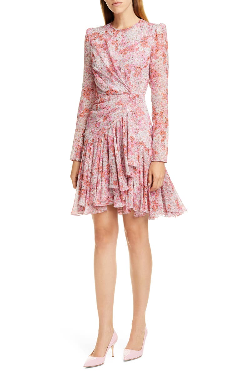 GIAMBATTISTA VALLI Rose Print Long Sleeve Silk Dress, Main, color, 680
