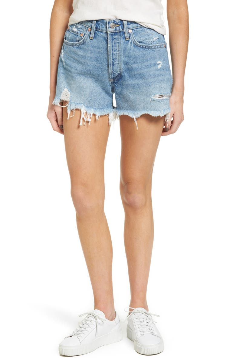 AGOLDE Parker Distressed Denim Shorts, Main, color, SWAPMEET