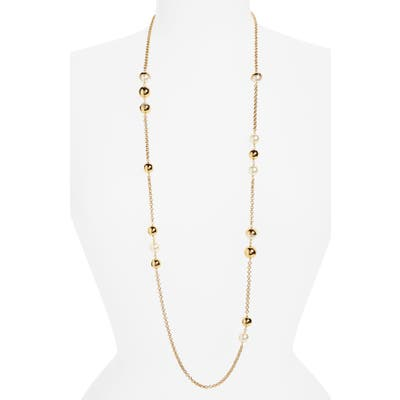 Tory Burch Imitation Pearl Station Necklace