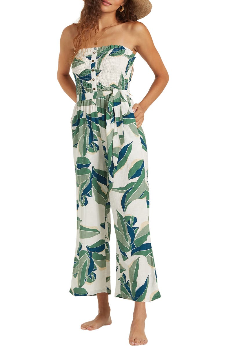 BILLABONG Forward Feelings Strapless Jumpsuit, Main, color, COOL WIP