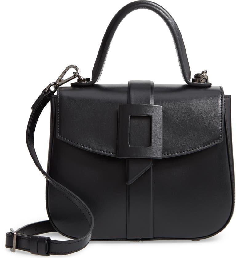 ROGER VIVIER Mini Beau Vivier Covered Buckle Leather Satchel, Main, color, BLACK