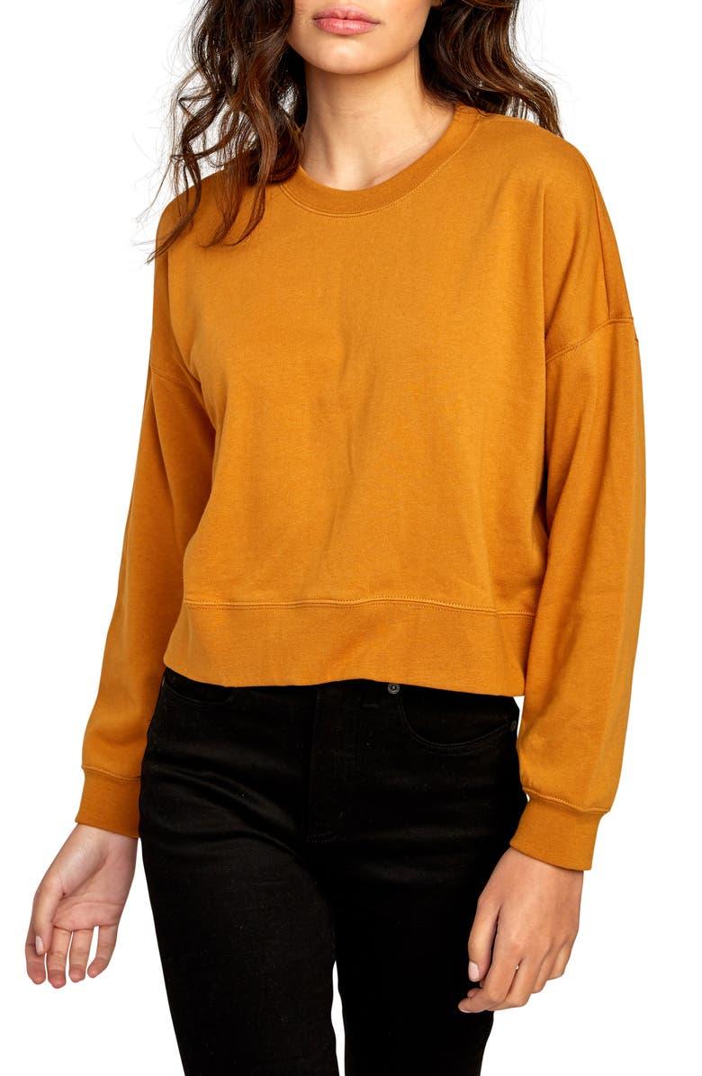 RVCA Big Copy Crop Sweatshirt, Main, color, 200