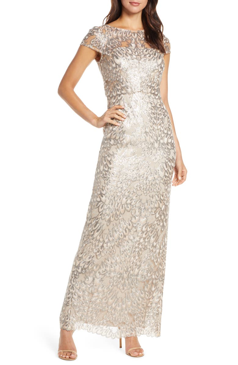 ADRIANNA PAPELL Sequin Popover Column Gown, Main, color, 710