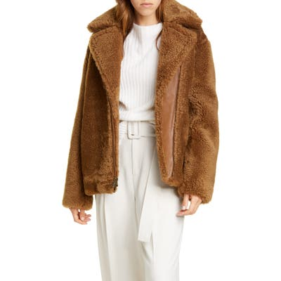 Vince Genuine Shearling & Leather Bomber Jacket, Brown