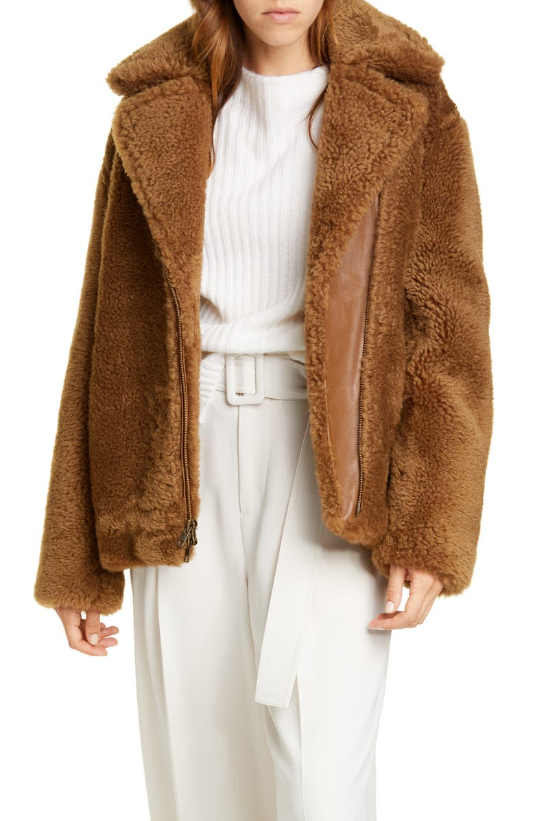 VINCE Genuine Shearling & Leather Bomber Jacket, Main, color, CANYON
