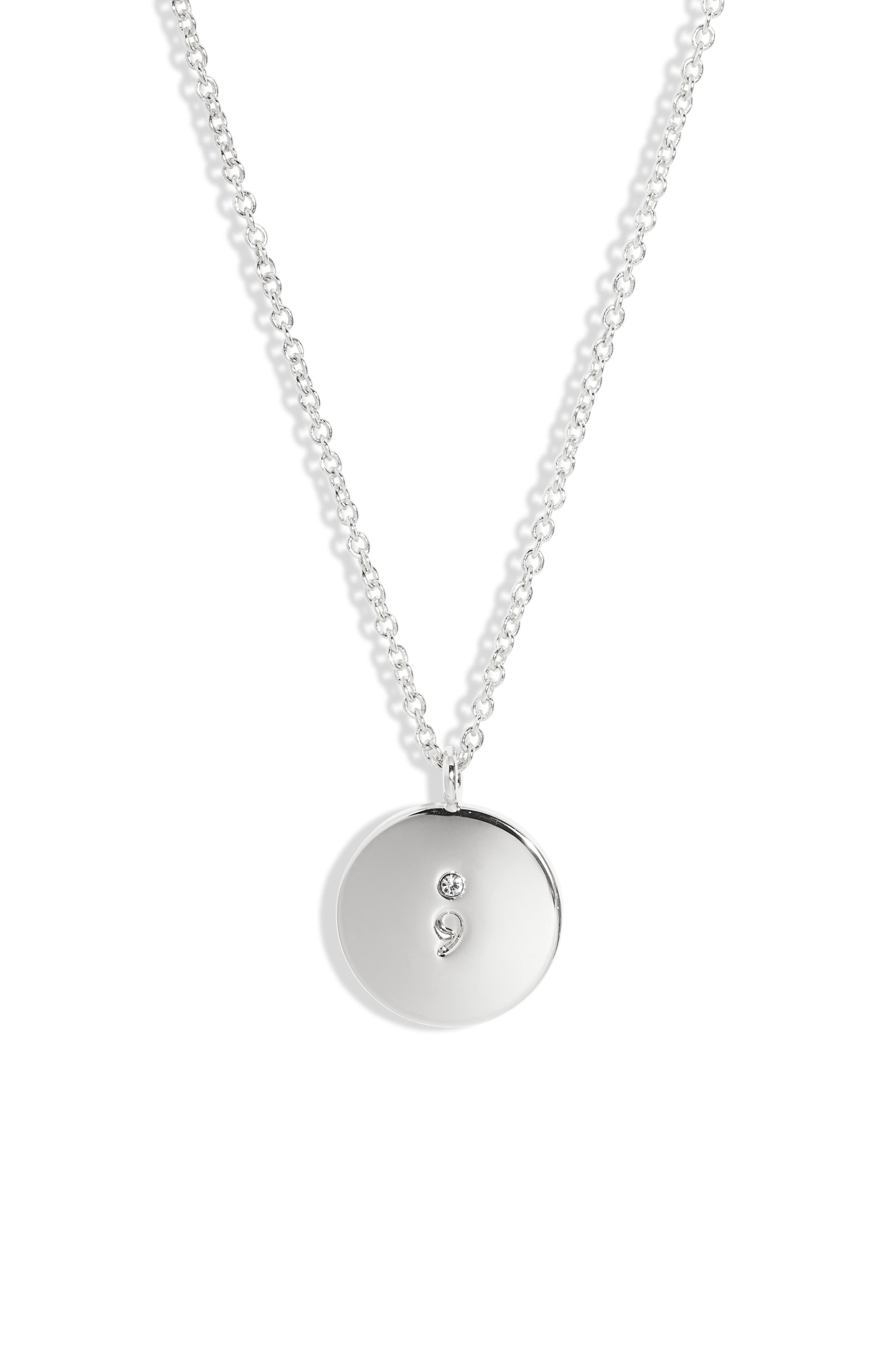 It Doesn't End Here Semicolon Pendant Necklace in Silver at Nordstrom