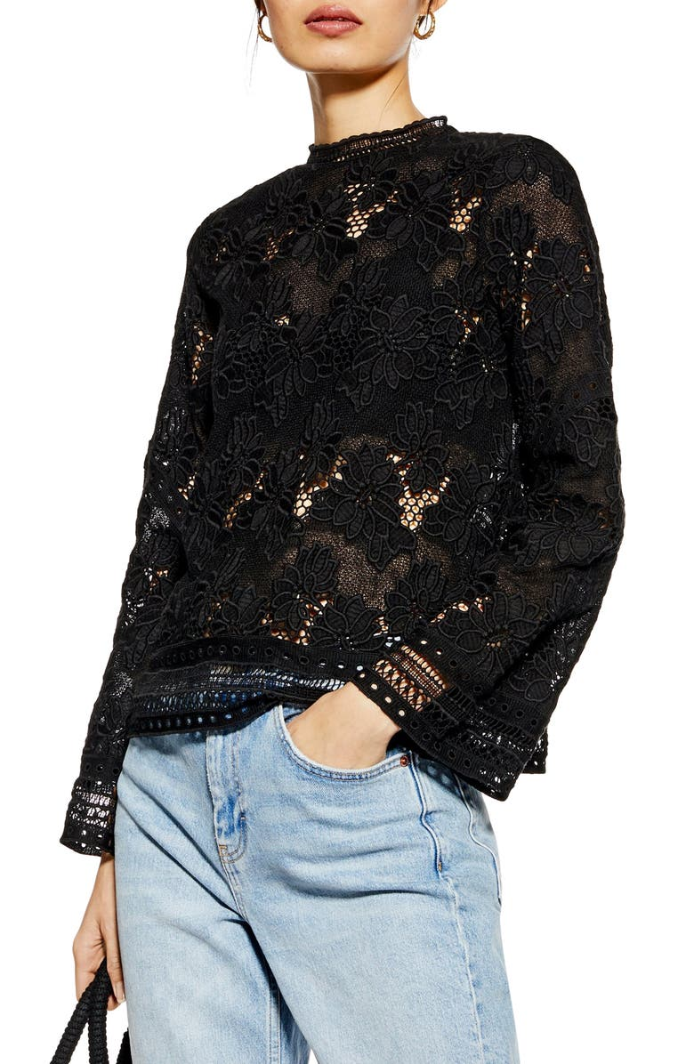 TOPSHOP Floral Lace Blouse, Main, color, BLACK