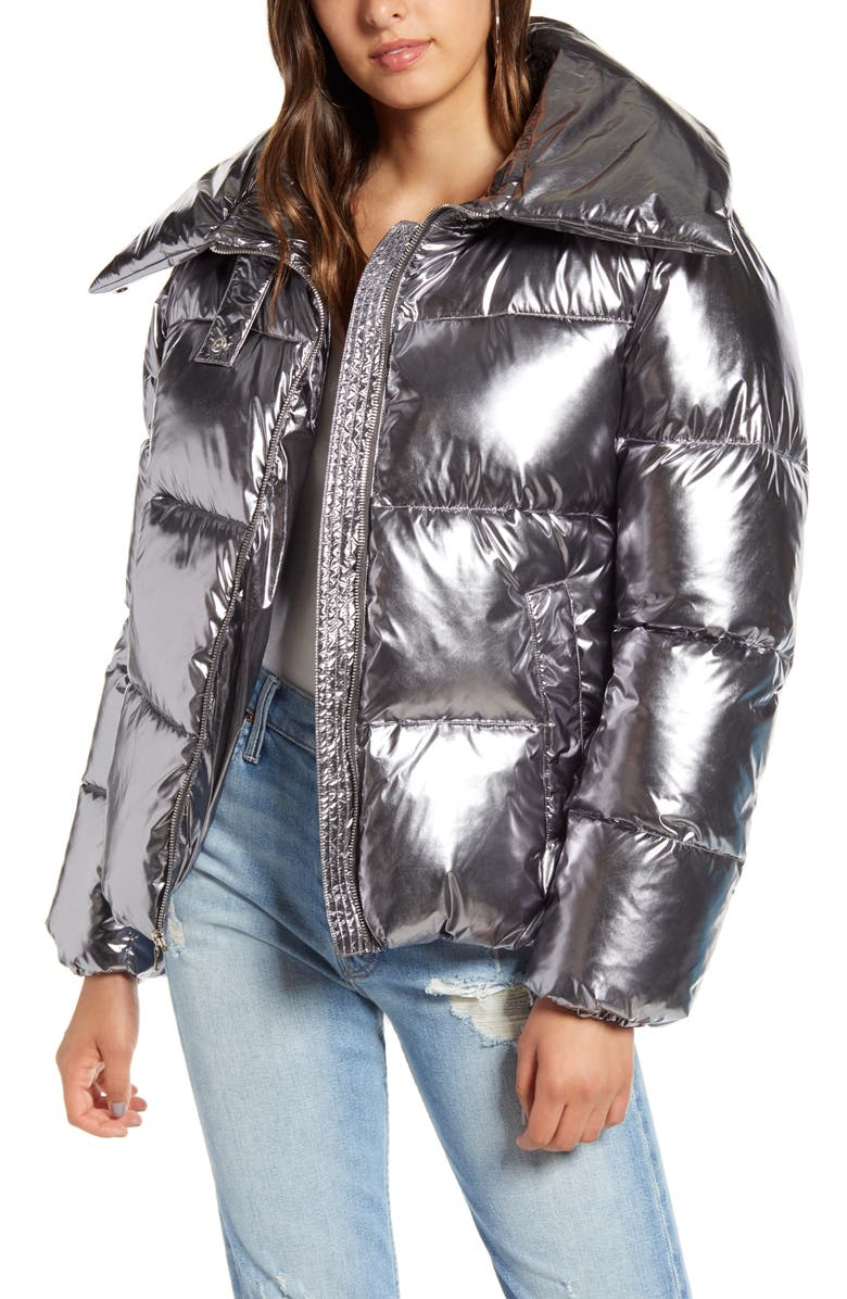 KENDALL + KYLIE Metallic Puffer Coat, Main, color, SILVER
