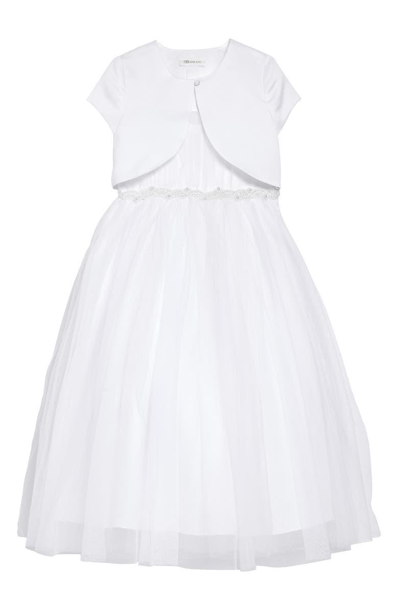 IRIS & IVY Beaded Tulle First Communion Dress & Bolero Jacket Set, Main, color, WHITE