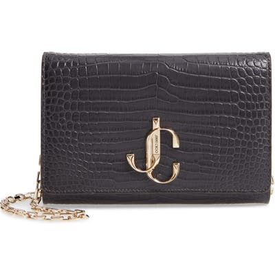 Jimmy Choo Varenne Croc Embossed Leather Clutch -