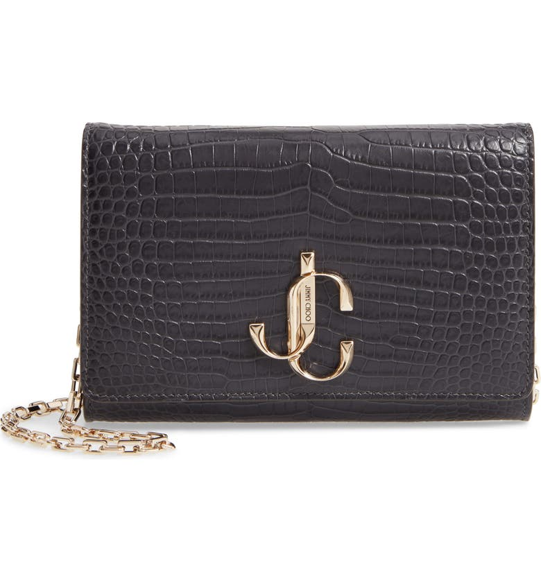 JIMMY CHOO Varenne Croc Embossed Leather Clutch, Main, color, DUSK