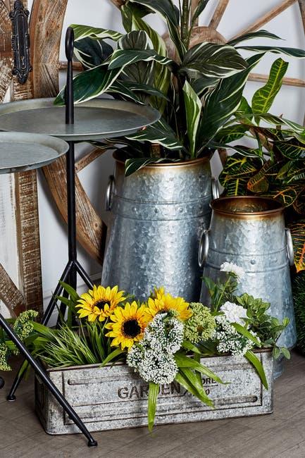 Image of Willow Row Silver Galvanized Iron Barrel Planter - Set of 3