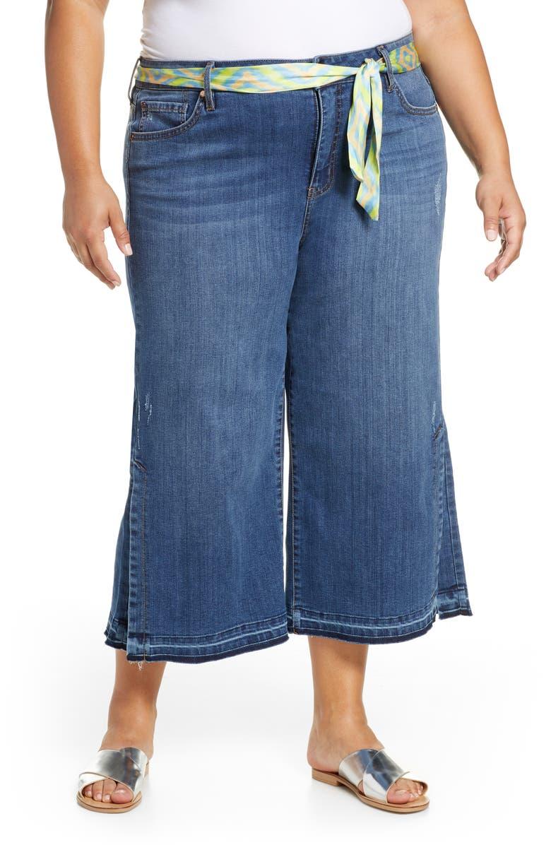 SEVEN7 Scarf Belt Release Hem Wide Leg Crop Jeans, Main, color, 452